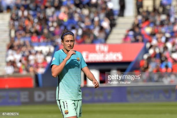 Alexia Putellas of Barcelona reacts during the Women's Champions League match between Paris Saint Germain and Barcelona at Parc des Princes on April...