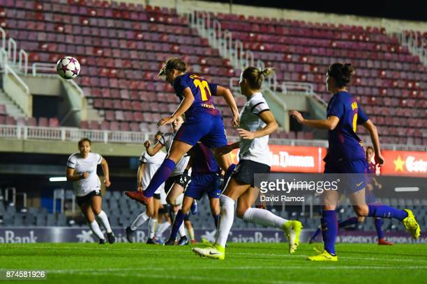 Alexia Putellas of FC Barcelona scores the opening goal during the UEFA Womens Champions League Round of 16 second leg match between FC Barcelona and...