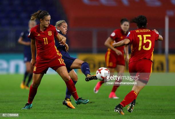 Alexia Putellas of Spain is tackled by Jordan Nobbs of England during the UEFA Women's Euro 2017 Group D match between England and Spain at Rat...