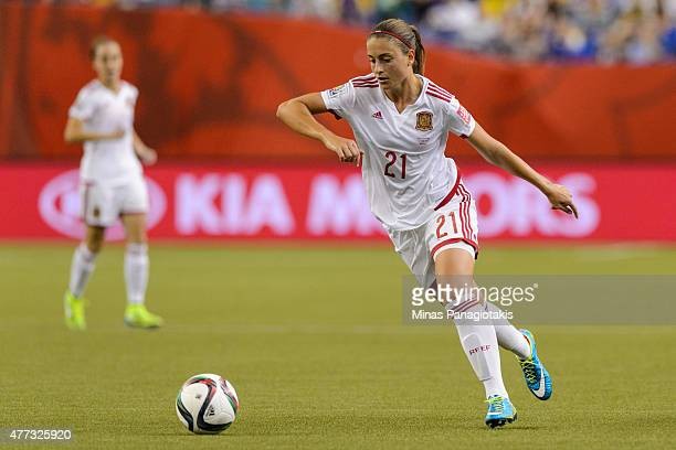 Alexia Putellas of Spain moves the ball during the 2015 FIFA Women's World Cup Group E match against Brazil at Olympic Stadium on June 13 2015 in...