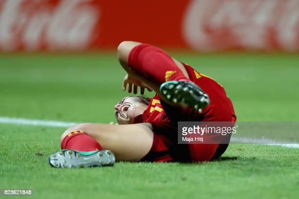 Alexia Putellas of Spain reacts during the Group D match between Scotland and Spain during the UEFA Women's Euro 2017 at Stadion De Adelaarshorst on...