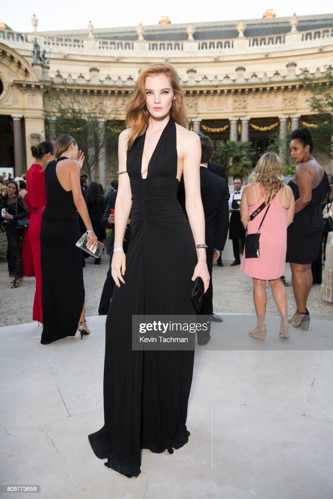 Alexina Graham arrives for the amfAR Paris Dinner at Le Petit Palais on July 2, 2017 in Paris, France.