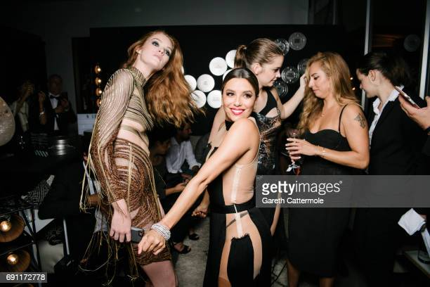 Alexina Graham Eva Longoria and Barbara Palvin attend the L'Oreal Paris Cinema Club party during the 70th annual Cannes Film Festival on May 24 2017...