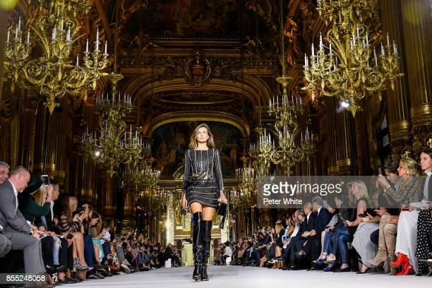 Alexina Graham walks the runway during the Balmain show as part of the Paris Fashion Week Womenswear Spring/Summer 2018 on September 28 2017 in Paris...