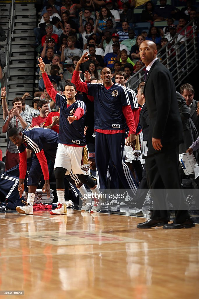 Alexis Ajinca #42 and the New Orleans Pelicans bench celebrates against the Miami Heat during an NBA game on March 22, 2014 at the Smoothie King Center in New Orleans, Louisiana.