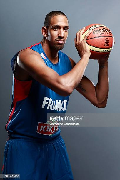 Alexis Ajinca of the French Men's National basketball team poses for a portrait during the team's annual studio shoot at INSEP on July 21 2013 in...