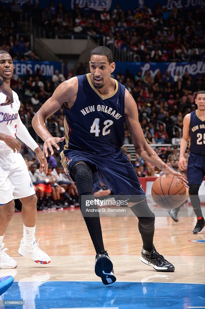 Alexis Ajinca #42 of the New Orleans Pelicans handles the basketball during a game against the Los Angeles Clippers at STAPLES Center on March 1, 2014 in Los Angeles, California.