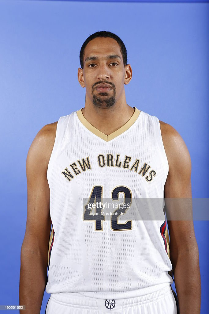 Alexis Ajinca of the New Orleans Pelicans pose for photos during NBA Media Day on September 28, 2015 at the New Orleans Pelicans practice facility in Metairie, Louisiana.