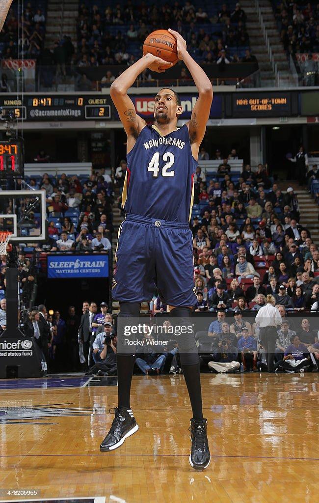 Alexis Ajinca #42 of the New Orleans Pelicans shoots against the Sacramento Kings on March 3, 2014 at Sleep Train Arena in Sacramento, California.