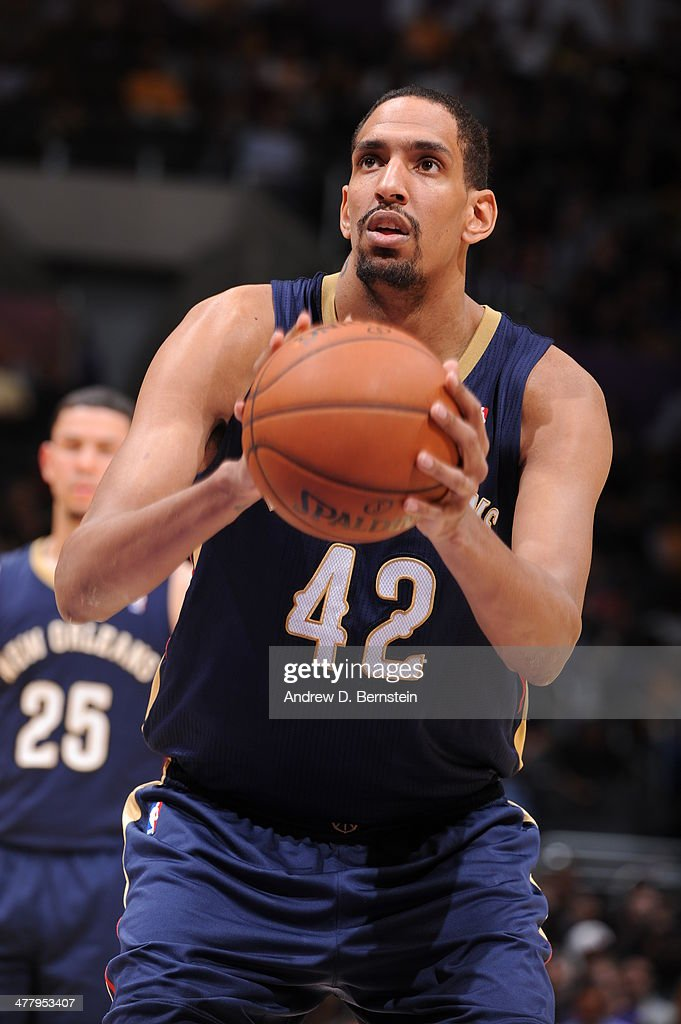 Alexis Ajinca #42 of the New Orleans Pelicans takes a free throw against the Los Angeles Lakers at Staples Center on March 4, 2014 in Los Angeles, California.