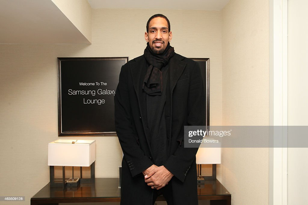 Alexis Ajinca visits the Samsung Galaxy Lounge during NBA All Star 2015 on February 14, 2015 in New York City.