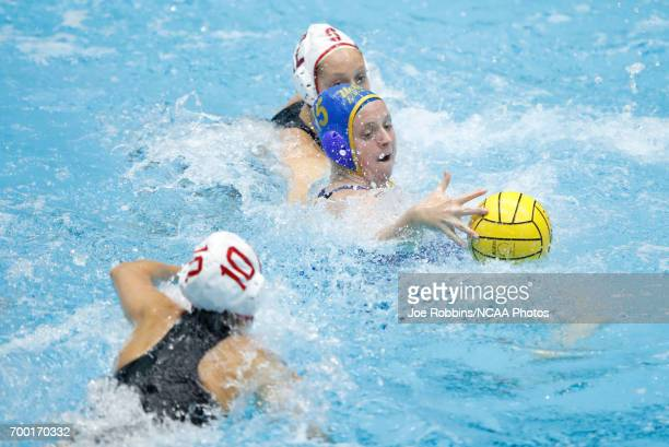 Alexis Angermund of UCLA reaches for the ball against Stanford University during the Division I Women's Water Polo Championship held at the IU...