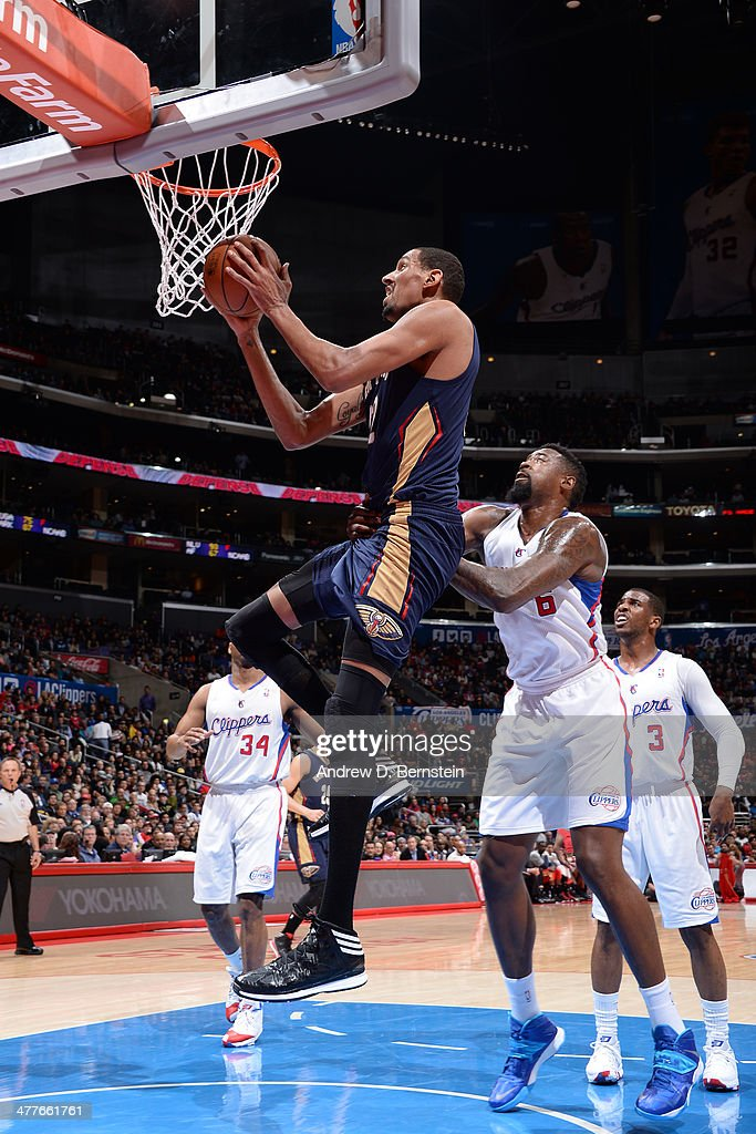 Alexis Anjinca #42 of the New Orleans Pelicans drives to the basket against the Los Angeles Clippers at STAPLES Center on March 1, 2014 in Los Angeles, California.