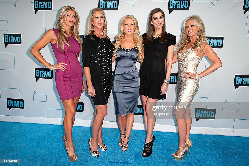 Alexis Bellino, Vicki Gunvalson, Gretchen Rossi, Heather Dubrow, and Tamra Barney of Real Housewives of Orange County attend Bravo Upfront 2012 at Center 548 on April 4, 2012 in New York City.