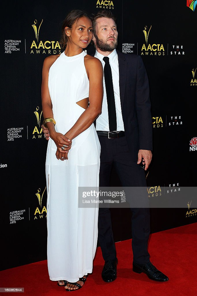 Alexis Blake and Joel Edgerton arrives at the 2nd Annual AACTA Awards at The Star on January 30, 2013 in Sydney, Australia.