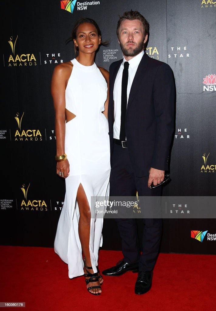 Alexis Blake and <a gi-track='captionPersonalityLinkClicked' href=/galleries/search?phrase=Joel+Edgerton&family=editorial&specificpeople=211291 ng-click='$event.stopPropagation()'>Joel Edgerton</a> arrives for the 2nd Annual AACTA Awards at The Star on January 30, 2013 in Sydney, Australia.