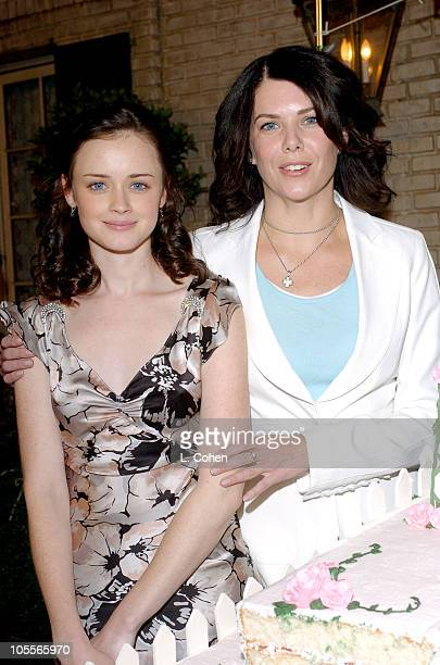 Alexis Bledel and Lauren Graham during 'Gilmore Girls' 100th Episode Celebration at Warner Brothers in Los Angeles California United States