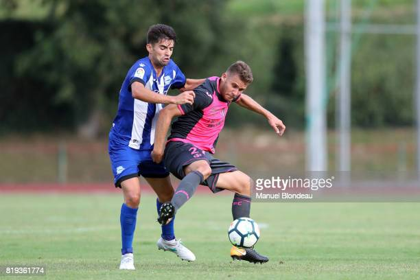 Alexis Blin of Toulouse duels for the ball with Enzo Zidane of Alaves during the friendly match between Toulouse FC and Deportivo Alaves on July 19...