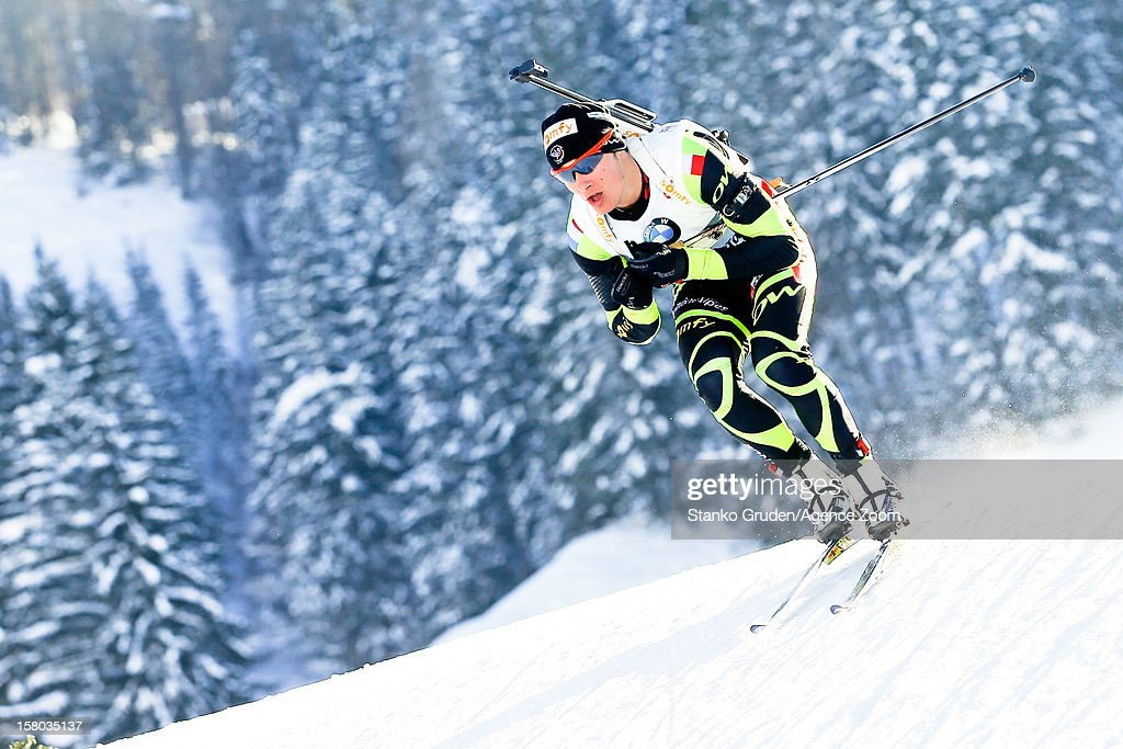 Alexis Boeuf of France takes 2nd place during the IBU Biathlon World Cup Men's Relay on December 09, 2012 in Hochfilzen, Austria.