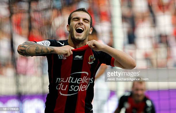 Alexis Bosetti of OGC Nice celebring score during the French Football League 1 match between OGC Nice and Valenciennes FC on September 22 2013 in...