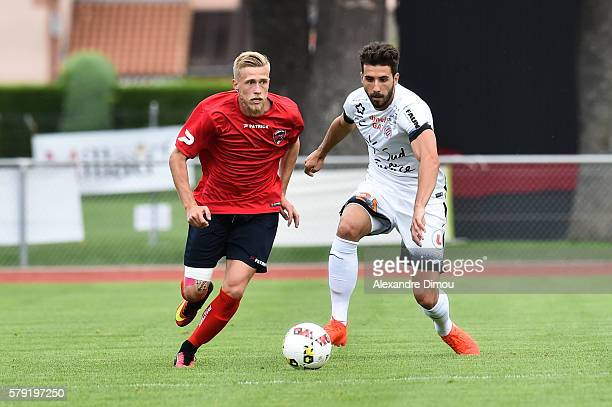 Alexis Busin of Clermont and Mathieu Deplagne of Montpellier during the Pre season friendly match between Montpellier Herault Sc and Clermont Foot on...