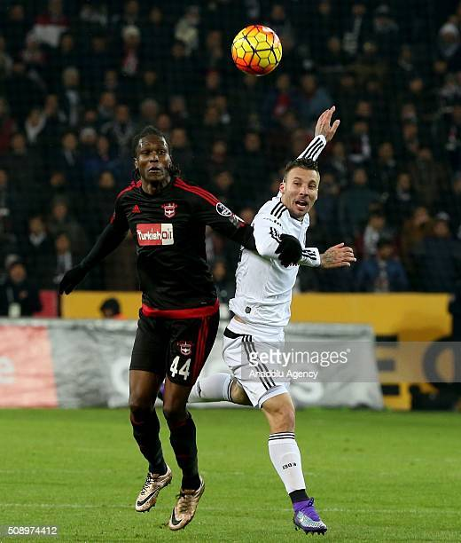 Alexis Delgado of Besiktas in action against Mahamadou Bezanner of Gaziantepspor during Turkish Spor Toto Super Lig football match between Besiktas...