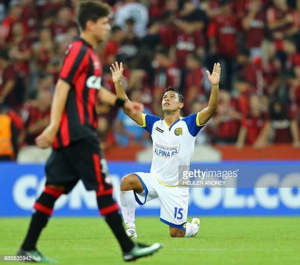 Alexis Gonzalez of Paraguay's Deportivo Capiata celebrates after a match with Brazil's Atletico Paranaense during their Libertadores Cup football...
