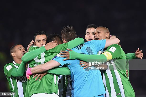 Alexis Henriquez of Atletico Nacional celebrates with team mates victory during the FIFA Club World Cup 3rd place match between Club America and...