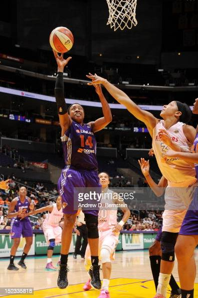 Alexis Hornbuckle of the Phoenix Mercury attempts a shot during a game against the Los Angeles Sparks at Staples Center on September 18 2012 in Los...