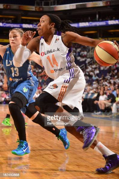 Alexis Hornbuckle of the Phoenix Mercury drives against Lindsay Whalen of the Minnesota Lynx in Game 2 of the Western Conference Finals during 2013...