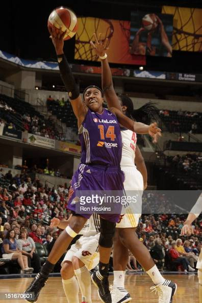 Alexis Hornbuckle of the Phoenix Mercury lays the ball up against the Indiana Fever at Banker's Life Fieldhouse on September 9 2012 in Indianapolis...