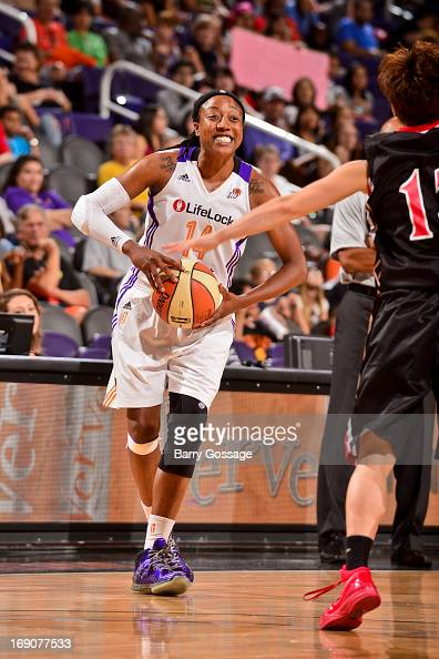 Alexis Hornbuckle of the Phoenix Mercury looks to pass the ball against the Japanese National Team during a WNBA preseason game on May 19 2013 at US...