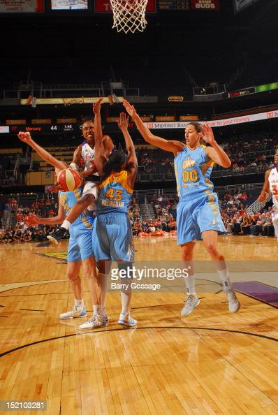 Alexis Hornbuckle of the Phoenix Mercury shoots against Le'coe Willingham of the Chicago Sky on September 16 2012 at US Airways Center in Phoenix...