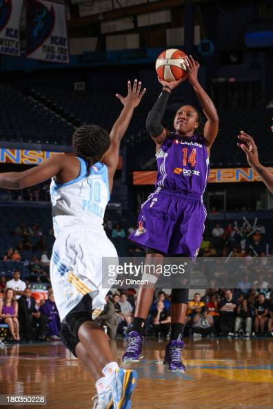 Alexis Hornbuckle of the Phoenix Mercury shoots the ball against Epiphanny Prince of the Chicago Sky during the game on September 11 2013 at the...