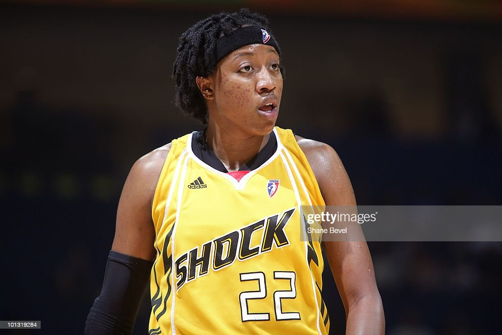 Alexis Hornbuckle #22 of the Tulsa Shock walks down the court during the WNBA game against the Phoenix Mercury on May 25, 2010 at the BOK Center in Tulsa, Oklahoma. The Mercury won 110-96.