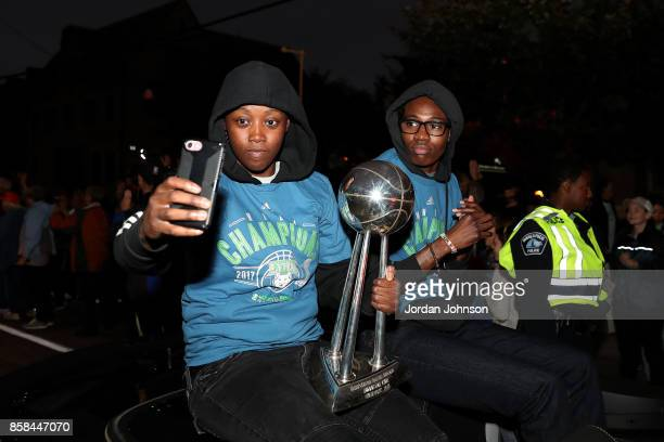 Alexis Jones and Natasha Howard of the Minnesota Lynx take a picture together during the Minnesota Lynx title parade on October 5 2017 at The...
