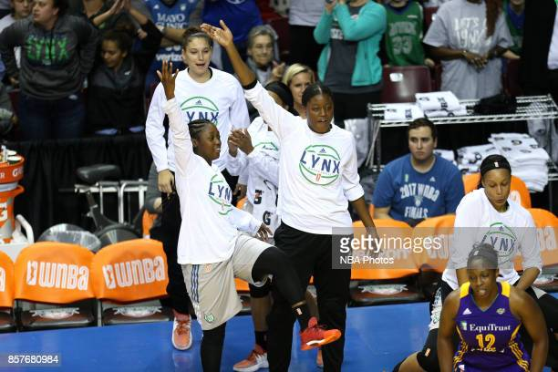 Alexis Jones and Temi Fagbenle of the Minnesota Lynx react during the game against the Los Angeles Sparks in Game 5 of the 2017 WNBA Finals on...