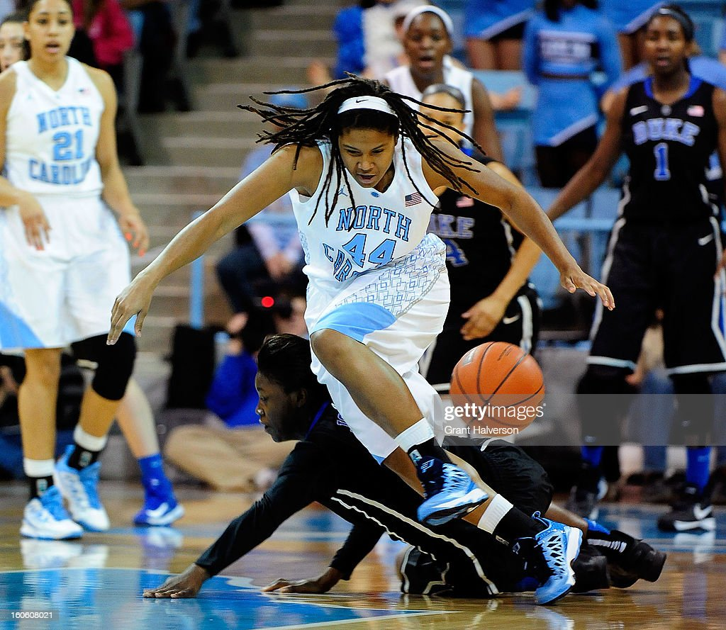 Alexis Jones #2 of the Duke Blue Devils battles for a loose ball with Tierra Ruffin-Pratt #44 of the North Carolina Tar Heels during play at Carmichael Arena on February 3, 2013 in Chapel Hill, North Carolina.