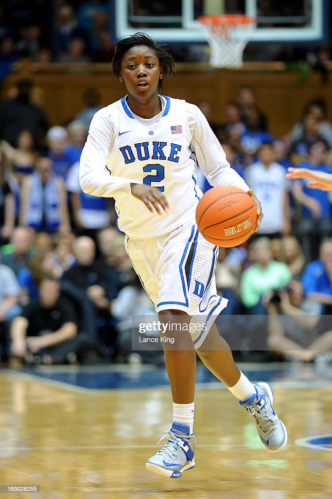 Alexis Jones #2 of the Duke Blue Devils dribbles against the North Carolina Tar Heels at Cameron Indoor Stadium on March 3, 2013 in Durham, North Carolina.