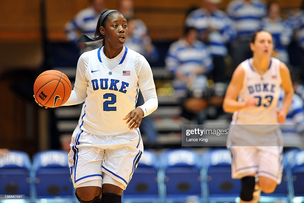 Alexis Jones #2 of the Duke Blue Devils dribbles up court against the Valparaiso Crusaders at Cameron Indoor Stadium on November 23, 2012 in Durham, North Carolina. Duke defeated Valparaiso 90-45.