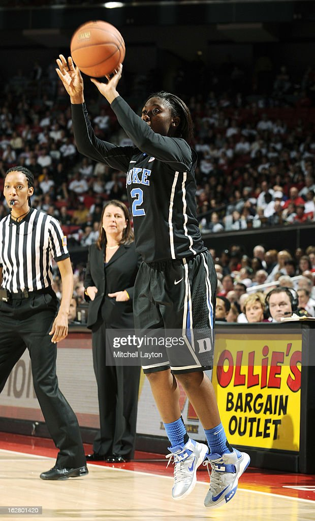 Alexis Jones #2 of the Duke Blue Devils takes a jump shot during a women's college basketball game against the Maryland Terrapins on February 24, 2013 at the Comcast Center in College Park, Maryland. The Blue Demons won 75-59.