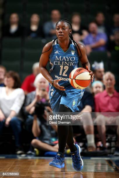 Alexis Jones of the Minnesota Lynx brings the ball up court during the game against the Washington Mystics on September 3 2017 at Xcel Energy Center...