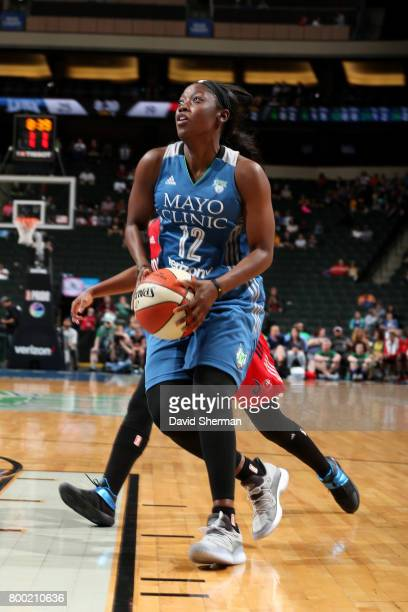 Alexis Jones of the Minnesota Lynx drives to the basket during the game against the Washington Mystics during WNBA game on June 23 2017 at Xcel...