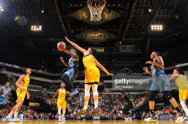 Alexis Jones of the Minnesota Lynx goes for a lay up against the Indiana Fever on August 30 2017 at Bankers Life Fieldhouse in Indianapolis Indiana...