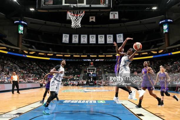 Alexis Jones of the Minnesota Lynx goes for a lay up during the game against the Los Angeles Sparks during WNBA game on July 6 2017 at Xcel Energy...