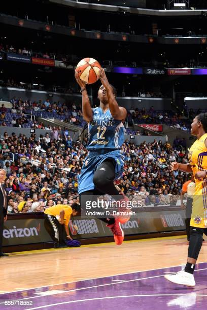 Alexis Jones of the Minnesota Lynx goes for a lay up during the game against the Los Angeles Sparks in Game Three of the 2017 WNBA Finals on...