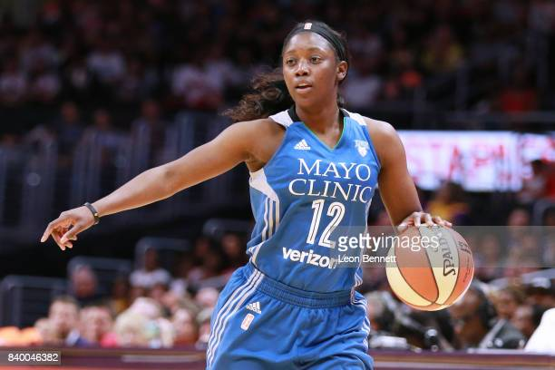Alexis Jones of the Minnesota Lynx handles the ball against the Los Angeles Sparks during a WNBA basketball game at Staples Center on August 27 2017...