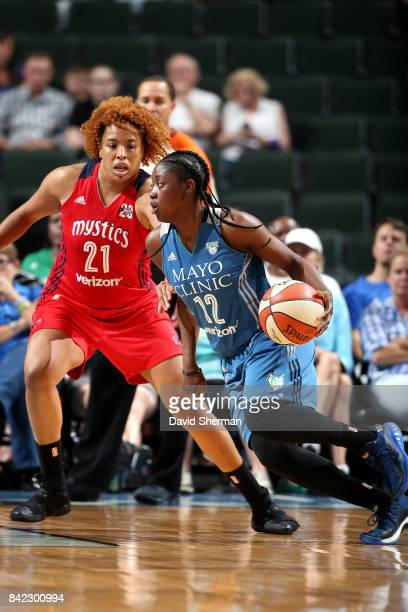 Alexis Jones of the Minnesota Lynx handles the ball during the game against the Washington Mystics on September 3 2017 at Xcel Energy Center in St...
