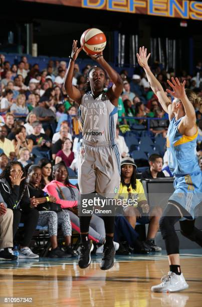 Alexis Jones of the Minnesota Lynx passes the ball against the Chicago Sky on July 8 2017 at Allstate Arena in Rosemont IL NOTE TO USER User...