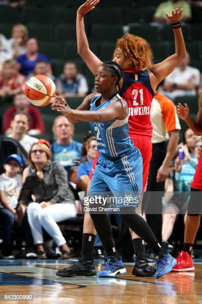 Alexis Jones of the Minnesota Lynx passes the ball during the game against the Washington Mystics on September 3 2017 at Xcel Energy Center in St...